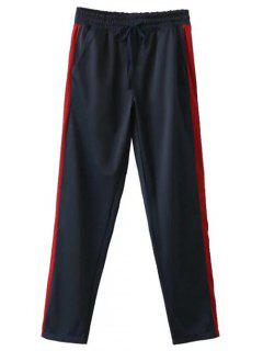 Side Stripe Buttoned Hem Sports Pants - Purplish Blue S