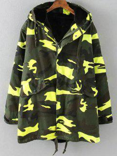 Camouflage Hooded Padded Utility Jacket - Army Green 2xl
