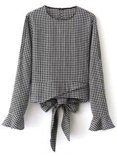 Flared Cuffs Gingham Check Blouse - White And Black L