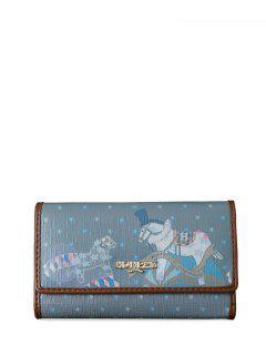 Star Cartoon Print Metal Trimmed Clutch Wallet - Deep Blue