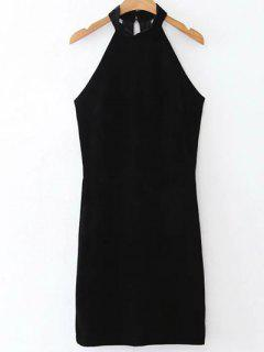 Halter Velvet Bodycon Dress - Black L