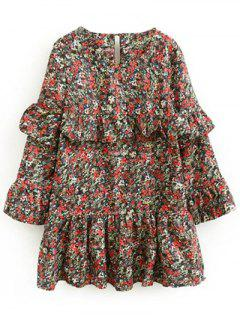 Tiny Floral Ruffles Layered Dress - Floral S