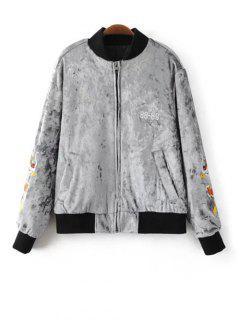 Velvet Embroidered Padded Jacket - Light Gray S