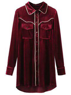Contrast Piped Velvet Shirt Dress - Burgundy M