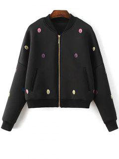 Tree Embroidered Space Cotton Jacket - Black S