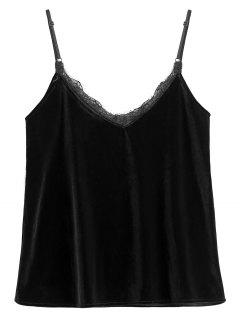 Eyelash Lace Velvet Camisole Top - Black S