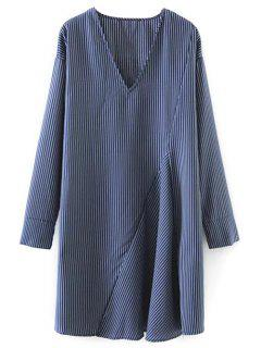 Striped V Neck Sorry Dress - Blue S