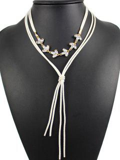 Layered Rhinestone Bolo Necklace - White