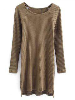 Cutout Ribbed Knitwear Dress - Khaki S