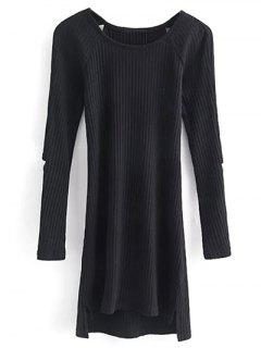 Cutout Ribbed Knitwear Dress - Black S