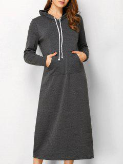 Long Sleeve Hooded Straight Dress - Deep Gray S