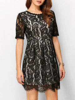 A Line V Back Lace Dress - Black S