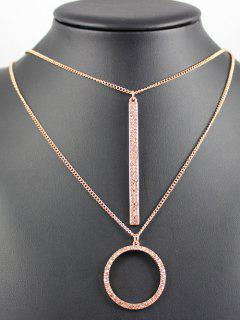 Layered Ring Bar Necklace - Rose Gold