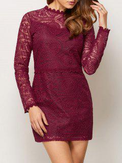 Lace Ruff Collar Mini Dress - Burgundy S