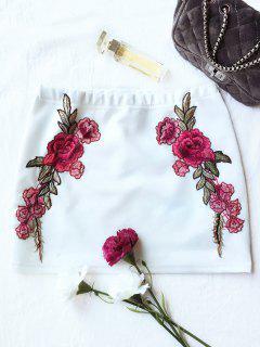 Mini Jupe Moulante Imprimée De Fleur De Rose - Blanc S