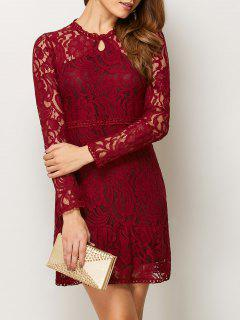 Openwork Long Sleeve Lace Mini Dress - Red M