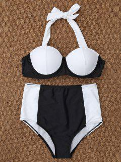 Underwire High Waisted Bikini - White And Black M