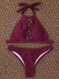 Crisscross Cutout High Neck Bikini - Burgundy M