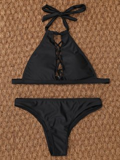 Crisscross Cutout High Neck Bikini - Black S