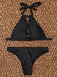 Bikini Entrecroisé Et Cordé Au Cou  - Noir S