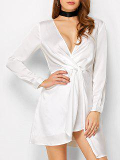 Plunge Neck Jersey Mini Dress - White M