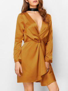Plunge Neck Jersey Mini Dress - Sugar Honey S