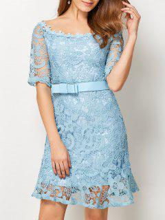 Scoop Neck Belted Lace Dress - Light Blue S