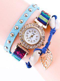 Braided Rhinestone Strand Bracelet Watch - Blue
