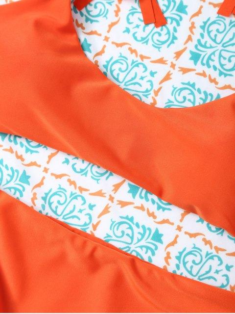 affordable Tasselled Halter Bikini Set - ORANGE XL Mobile