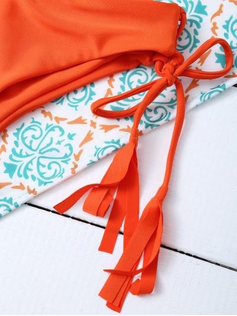 buy Tasselled Halter Bikini Set - ORANGE L Mobile