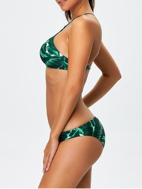 hot Women Leaves Print Bikini Set - GREEN M Mobile