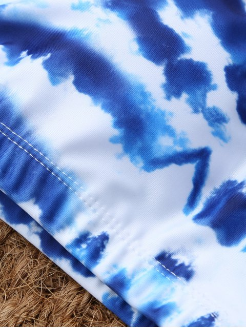 outfit U Neck Tie Dyed Cute Bathing Suit - BLUE AND WHITE M Mobile