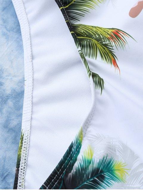 Maillot de bain imprimé tropical palmier cocotier - Blanc M Mobile