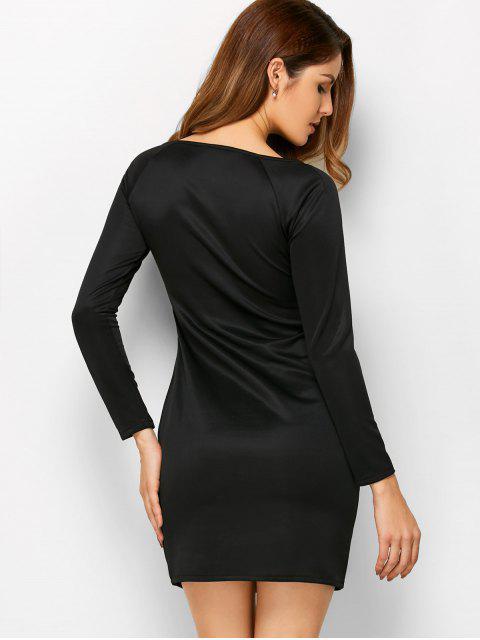 Mini-Robe fourreau à encolure entaillée et manches longues - Noir XL Mobile