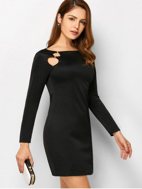 womens Cut Out Slash Neck Sheath Dress - BLACK L Mobile