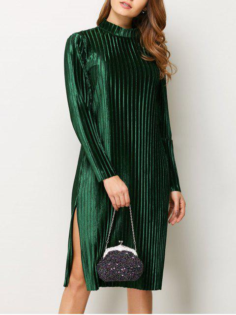 women Long Sleeve Pleated Pleuche Party Knee Length Dress - GREEN M Mobile