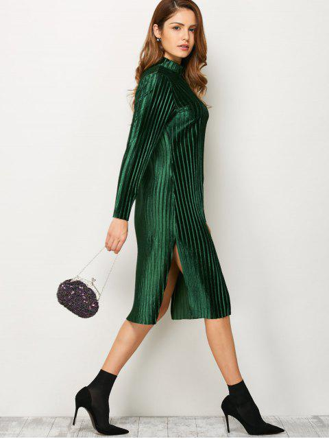 women's Long Sleeve Pleated Pleuche Party Knee Length Dress - GREEN S Mobile