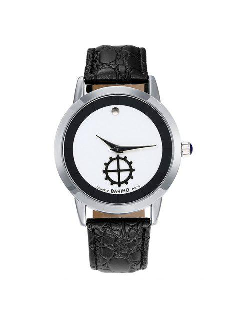 hot Faux Leather Quartz Vintage Analog Watch - SILVER  Mobile