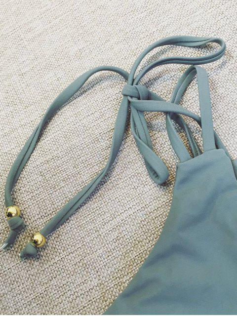 fancy Plunge Bikini Top and Thong Bikini Bottoms - SAGE GREEN S Mobile