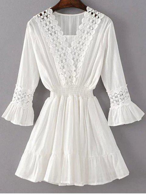 trendy Shirred Lacework Dress - WHITE M Mobile
