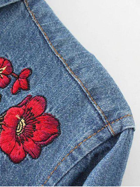 shop Embroidered Yoke Denim Shirt With Pockets - DENIM BLUE M Mobile
