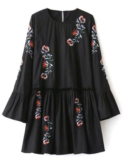 lady Long Bell Sleeve Embroidered Dress - BLACK S Mobile