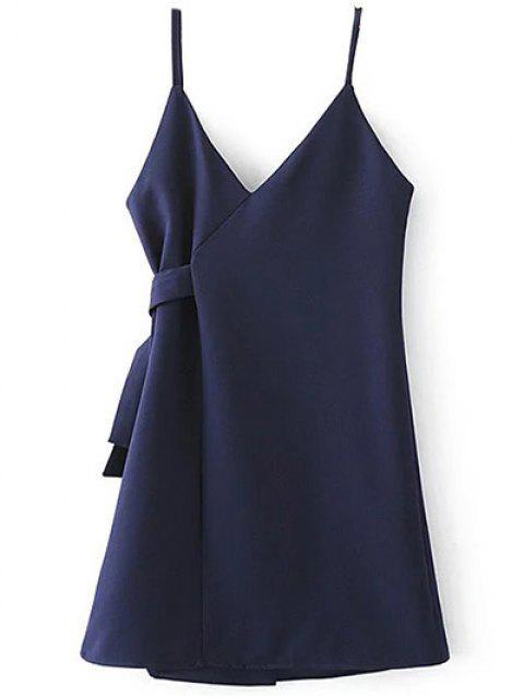 women Self Tie Wrap Cami Dress - CADETBLUE M Mobile