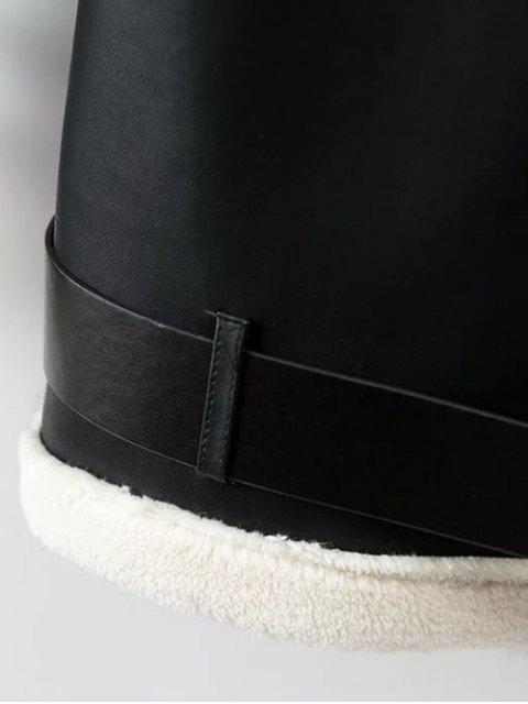 fashion Lapel Faux Shearling Biker Jacket - BLACK L Mobile
