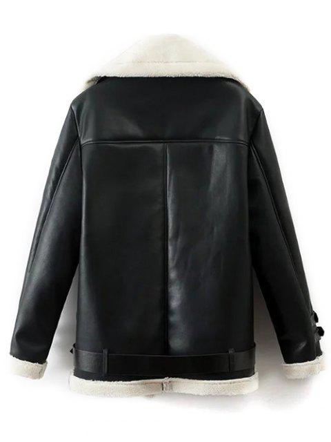 chic Lapel Faux Shearling Biker Jacket - BLACK M Mobile