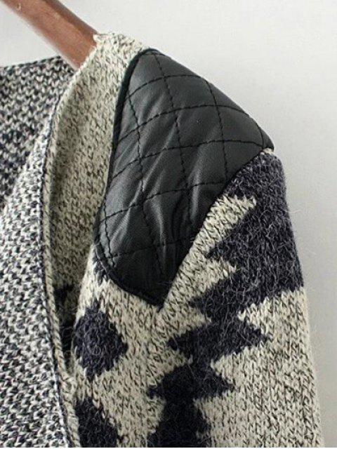 outfits Contrast PU Leather Geometric Cardigan - KHAKI L Mobile