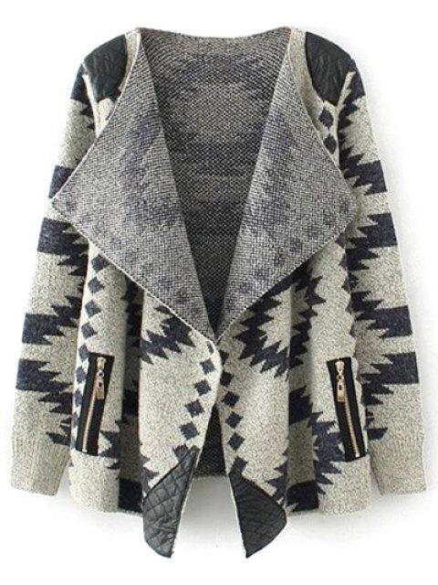 outfits Contrast PU Leather Geometric Cardigan - KHAKI L Mobile