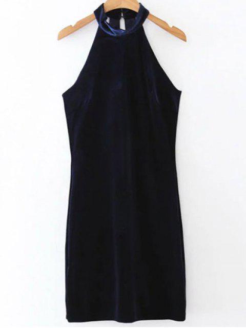 Halter Velvet Robe moulante - Bleu Violet L Mobile