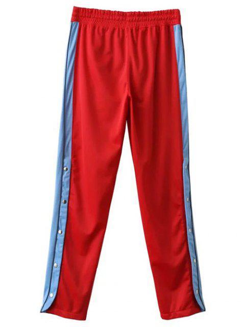 women Side Stripe Buttoned Hem Sports Pants - RED M Mobile