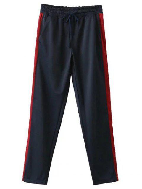 ladies Side Stripe Buttoned Hem Sports Pants - PURPLISH BLUE L Mobile